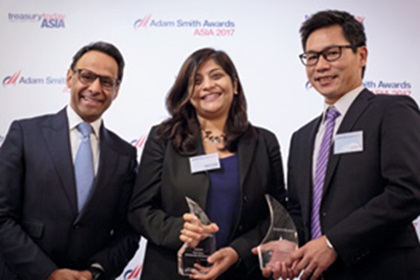Photo of Munir Nanji, Citi, Shachi Singh and Kevin Voong, General Electric.