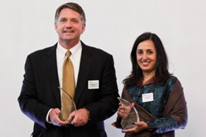 John Tus, Vice President and Treasurer from Honeywell accepting on behalf of Jim Colby and Swati Mitra, Citi