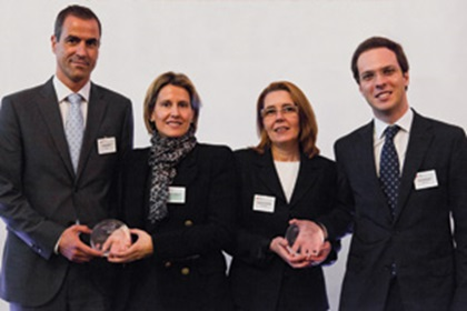 Javier Pellón, BBVA, Cristina Blanco from Grupo Antolin accepting on behalf of Luis Vega, Esperanza Del Rey and David Marques, RBS Madrid