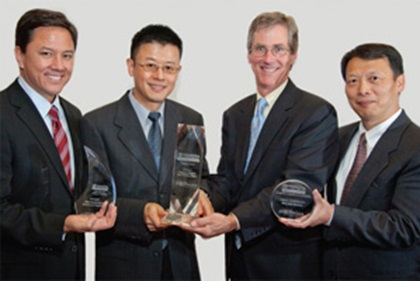 Nicholas Ro, Wei Shi, Jeff Carter and Jiming Chen collecting on behalf of Paul Boodee