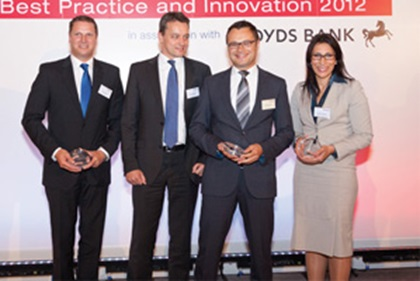 Photo of Remko Streng RBS, Andreas Knopf and Damian Preisner, SAP and Maha El Dimachki, Bank of America Merrill Lynch