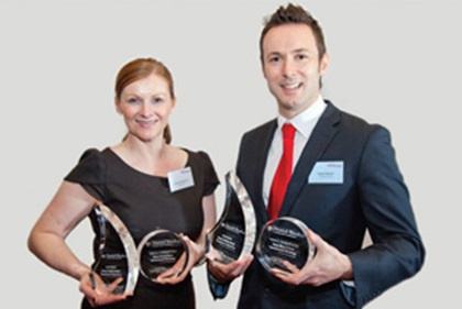 Photo of Mark Slaviero, Mattioli Woods and Suzanne Burgoyne, Lloyds Bank accepting on behalf of Nathan Imlach