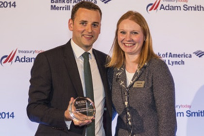 Chris Jameson, Bank of America Merrill Lynch collecting the Award on behalf of Marco Bigatti and Eleanor Hill