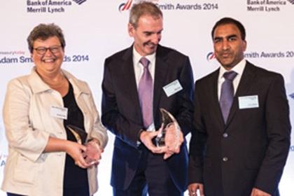 Brigitta Keller of Citi, Mike Foye and Vivek Reddy of Mondelēz collecting the Award on behalf of Tom Jack
