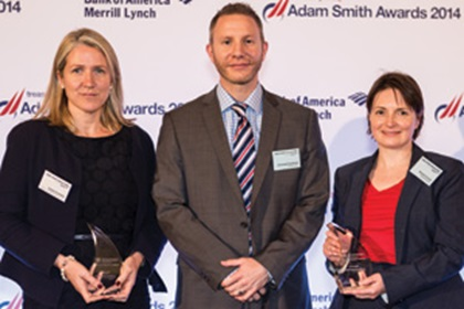 Sophie Polednik of Bank of America Merrill Lynch, Christoph Guettinger and Brenda Connell of Worley Parsons collecting the Award on behalf of Simon Holt