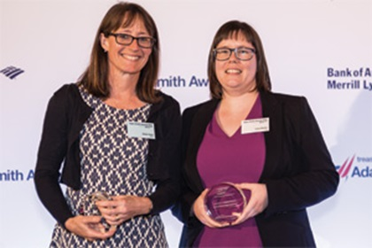 Helen Kyle of SAP collecting on behalf of Steff en Diel and Lucy Devlin of Citi