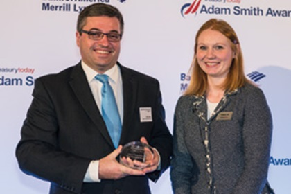 Paul Foster, Toyota Financial Services, collecting the Award on behalf of Adam Stam