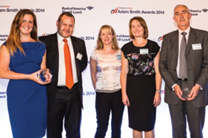 Lucy O'Grady, Dawn Warmington and Rosa Legassick of Severn Trent Water collecting the Award on behalf of Stephen Baseby, with Martin Baker and Jamie Hills of Barclays