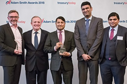 Photo of Kevin Grant, Serrala, Richard Quinlan, Sonal Gupta and Pramod Bhattiprolu, Alghanim Industries and Bhairav Mehta, BNP Paribas