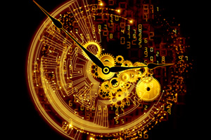 Abstract clock caught between normal and digital clock