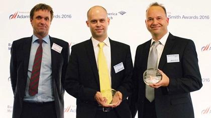 Henrik Jorgensen, Stefan Winisch and Marcus Facciola standing on stage