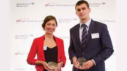 Lucie Brešová and Pavel Knecht standing on stage