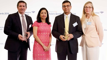 Martin Scott, Anita Prasad, Rahul Daswani and Taru Rintamaki standing on stage
