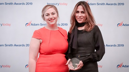 Photo of Meg Coates and Soraya Ahmed, Citi who accepts the award on behalf of Emirates Global Aluminium.