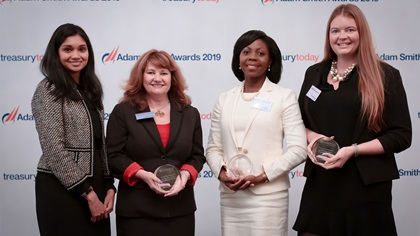 Photo of Serina Hourican, Bank of America Merrill Lynch, Elaine Wright and Dageria Morgan, Linamar Corporation and Hollie Sharkey, ION Treasury.