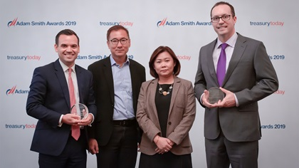 Photo of Scott Swindler, Christopher Teo and Yvonne Leong, Invista and Tom Murphy, Bank of America Merrill Lynch.