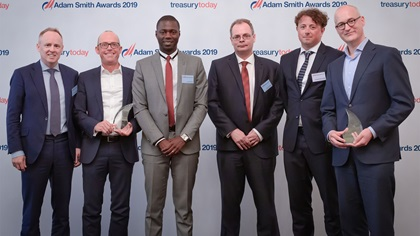 Photo of Liam Ó Caoimh, The Adecco Group, Joerg Wiemer, TIS, Joy Kwarteng, Marc Süselbeck and André Van der Toorn, The Adecco Group.