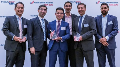 Photo of Freddy Ong, Standard Chartered, Damien Tan, Citi, Aditya Renjen, Jayant Parande and Naveen Subramanium, Olam International Limited