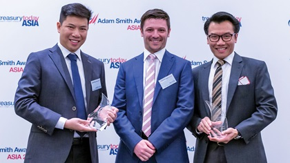 Photo of Jonathan Leong and Gary Jubb, JERA Global Markets Pte Ltd and Calvin Yeo, J.P. Morgan