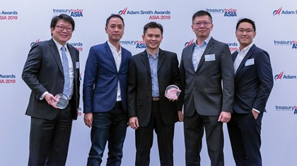 Photo of Adrian Ong, UOB, Gary Wong, Wilson Koh, Tew Woon Chong and William Low, Grab