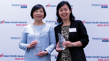 Photo of Mou Xiaomin, Hutchison MediPharma Limited and Cathy Dou, Bank of America