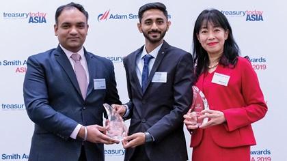 Photo of Nitin Sethi and Nitin Kokane, Bridgestone India Private Limited and Minako Stryer, J.P. Morgan
