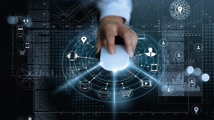 Person using future technology, mouse projecting information