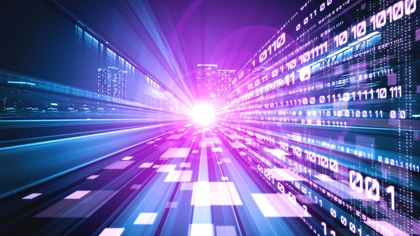 Digital data flow on road in city