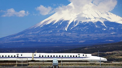 View of Mount Fuji with train in the foreground