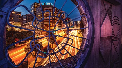 Nightscape of Wellington City in New Zealand through a beautiful window