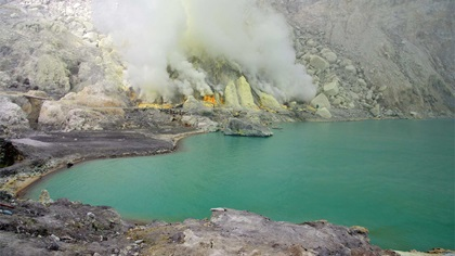 Crater, lake volcano in Indonesia