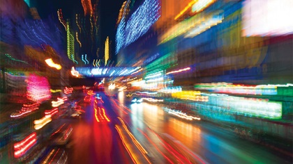 Traffic and town lights during motion creating a blur