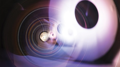 Close up of 8mm prime fish eye camera lens