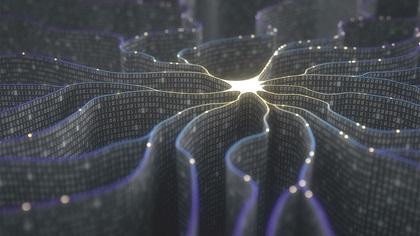 3D illustration of an artifical intelligence neuron