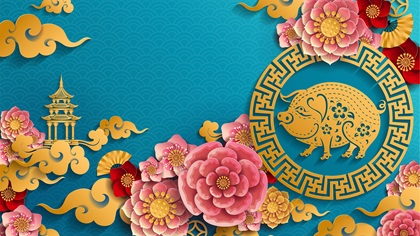 Chinese year of the pig background