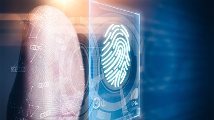Person's thumb using digital ID technology