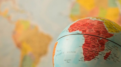 Globe focussing on Africa