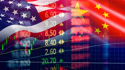 US and China flags merged together with graphs and data