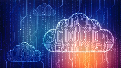 Encryption concept with cloud technology lines