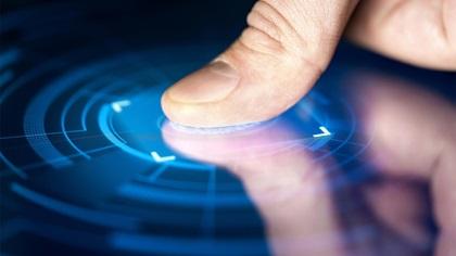 Person using fingerprint technology to gain access