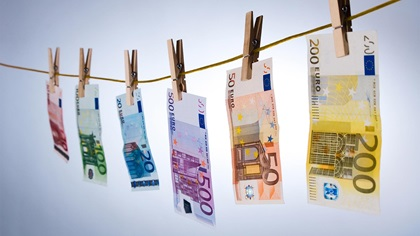 Euro notes pegged to a washing line