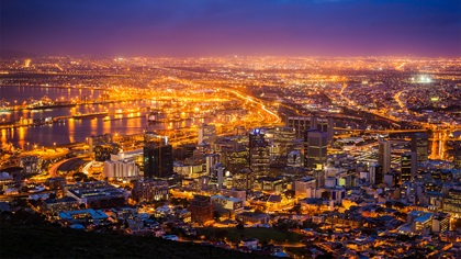View of Cape Town, South Africa at dawn