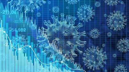 Statistics graph with viruses overlaid