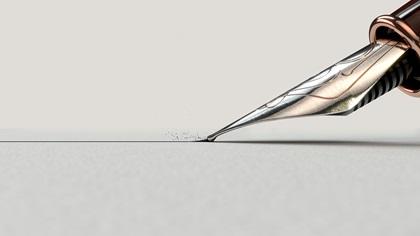 Pen nib, writing a letter