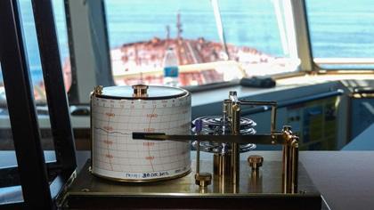 Baragraph on a bridge of oil tanker