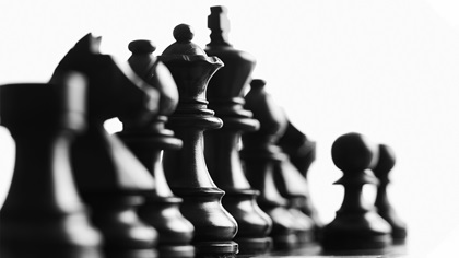 Black and white picture of chess pieces