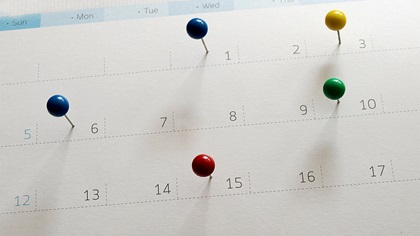 Calendar with pins on dates