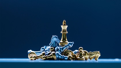 Chess set with the queen standing