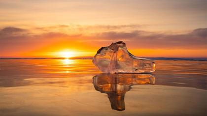 Frozen landscape, lake Baikal