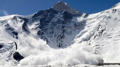 Avalanche falling from a mountain